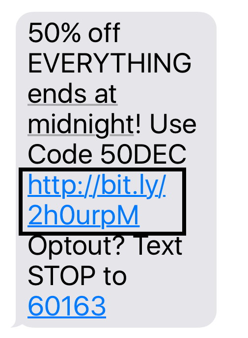 SMS highlighting URL shortener