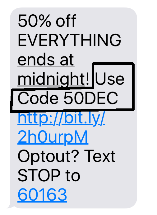 SMS highlighting Use code