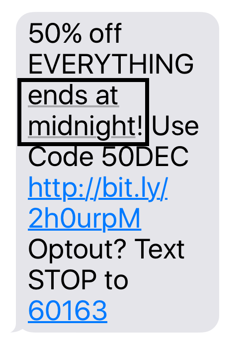 SMS highlighting ends at midnight