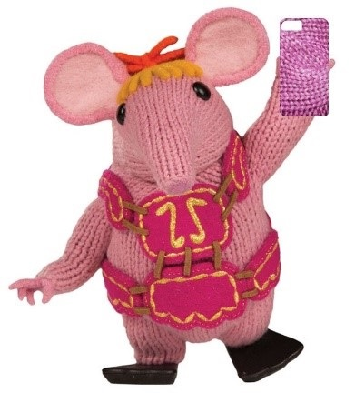 Clanger holding up a mobile phone