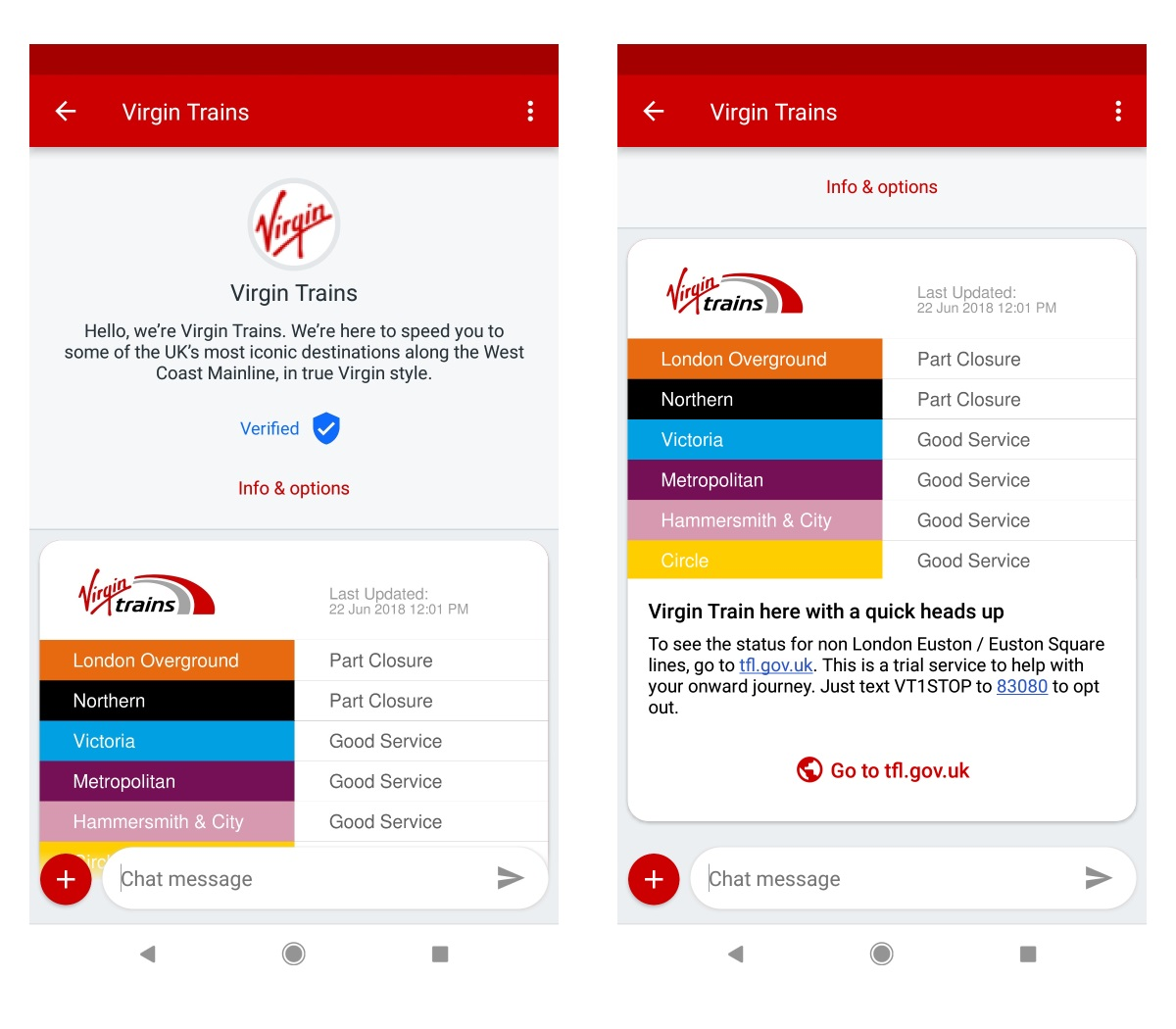 Virgin trains RCS messaging